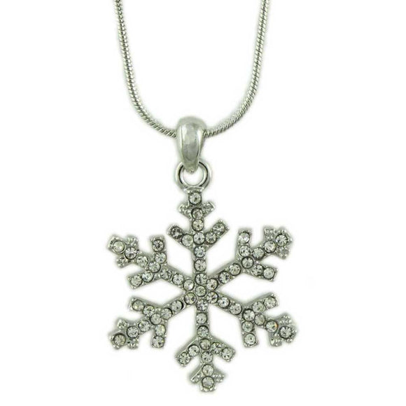Crystal Snowflake Pendant with Silver Chain Christmas Necklace - Lilylin Designs