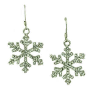 Silver with Clear Crystals Dangling Snowflake Christmas Earring - Lilylin Designs