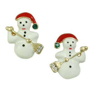 White Enamel Snowman with Broom Christmas Pierced or Clip Earring - Lilylin Designs