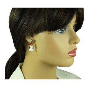 Model with Enamel Snowman with Red and Green Candy Cane Christmas Earring - Lilylin Designs
