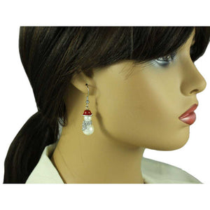 White Pearl Snowman with Clear Crystal Scarf Christmas Earring - XE106