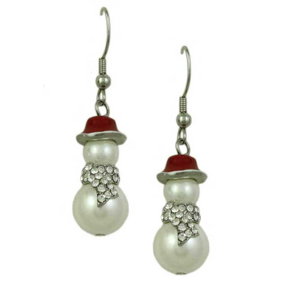 White Pearl Snowman with Clear Crystal Scarf and Red Hat Dangling Pierced Earring - Lilylin Designs