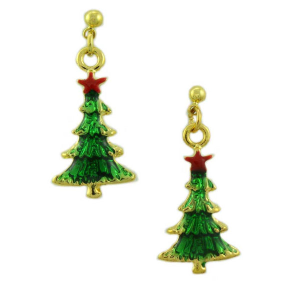 Green Enamel Dangling Christmas Tree Pierced Earring - Lilylin Designs