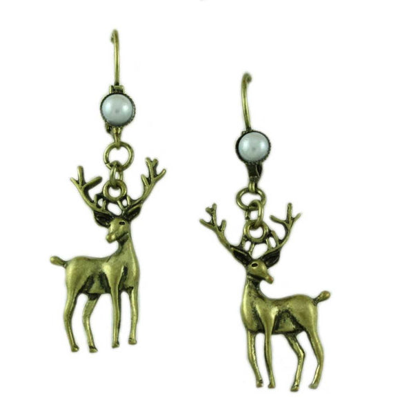 Antique Gold-tone Reindeer with Pearl Leverback Earring