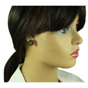 Model with Red and Green Crystal Christmas Wreath Pierced Earring - Lilylin Designs