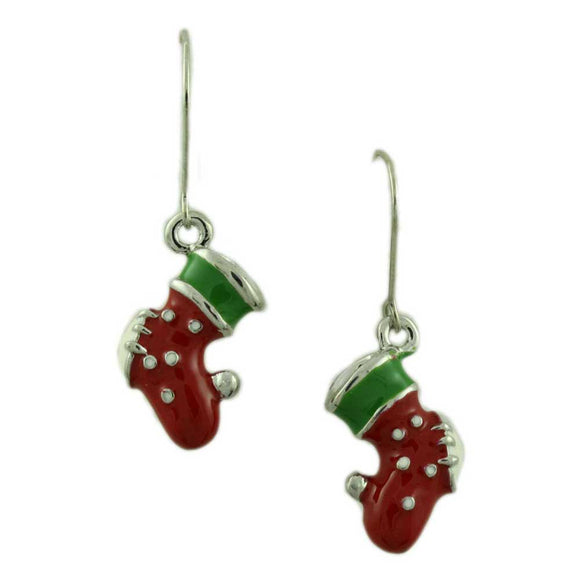 3D Red, White and Green Enamel Christmas Stocking Dangling Pierced Earring - Lilylin Designs