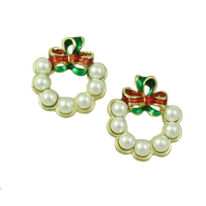 Pearl Wreath with Bow Pierced Earring - Lilylin Designs