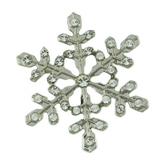 Silver with Clear Crystals Snowflake Christmas Brooch Pin - Lilylin Designs