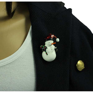 Model with Snowman with Santa Hat and Candy Cane Christmas Brooch Pin - Lilylin Designs