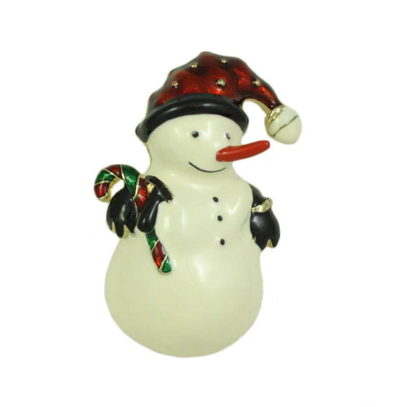 Snowman with Santa Hat and Candy Cane Christmas Brooch Pin - Lilylin Designs
