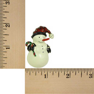 Snowman with Santa Hat and Candy Cane Christmas Brooch Pin (sized) - Lilylin Designs