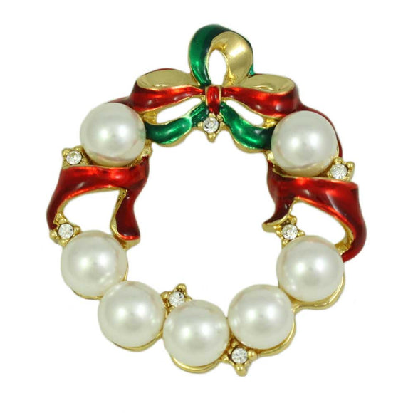 Pearl Christmas Wreath with Red and Green Enamel Bow Brooch Pin - Lilylin Designs