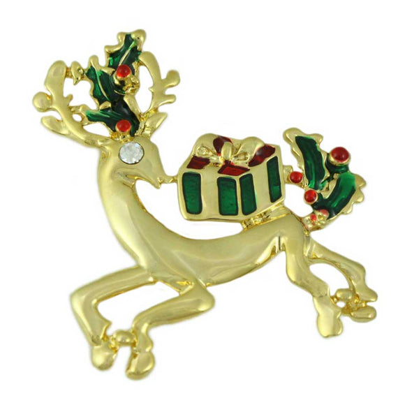 Gold Reindeer with Christmas Presents and Holly Leaves Brooch Pin - Lilylin Designs