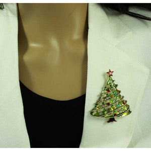 Model with Large Light Green Enamel and Crystal Christmas Tree Brooch Pin - Lilylin Designs