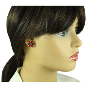 Model wit Red Enamel and Green Crystal Christmas  Flower Pierced Earring - Lilylin Designs