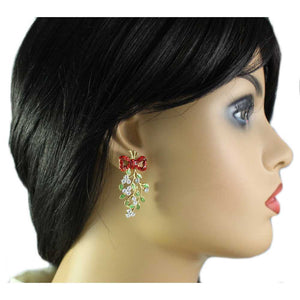 Model with Red Crystal Bow with Green Enamel Dangling Mistletoe Pierced Earring - Lilylin Designs
