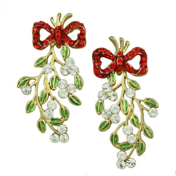 Red Crystal Bow with Green Enamel Dangling Mistletoe Pierced Earring - Lilylin Designs