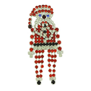 arge Sparkling Crystal Dangling Chain Santa Brooch Pin - Lilylin Designs