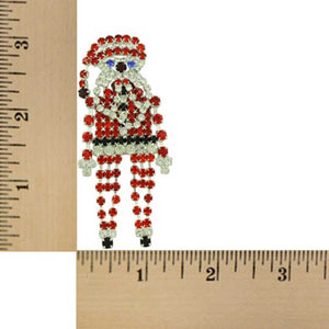 arge Sparkling Crystal Dangling Chain Santa Brooch Pin (sized) - Lilylin Designs