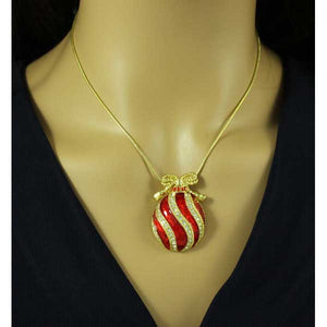 Model with Red Enamel and Crystal Christmas Ornament Necklace Gift Set - Lilylin Designs