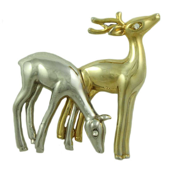 Silver and Gold Pair of Grazing Deer with Crystal Eyes Brooch Pin - Lilylin Designs