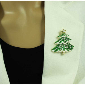 Model with Green and White Enamel and Crystals Snowy Christmas Tree Brooch Pin - Lilylin Designs