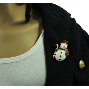 Model with Chubby Snowman with Red Hat and Scarf Christmas Brooch Pin - Lilylin Designs