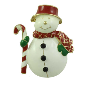 Chubby Snowman with Red Hat and Scarf Christmas Brooch Pin - Lilylin Designs