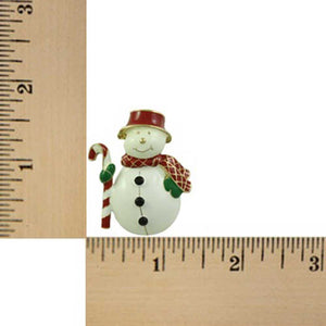 Chubby Snowman with Red Hat and Scarf Christmas Brooch Pin (sized) - Lilylin Designs