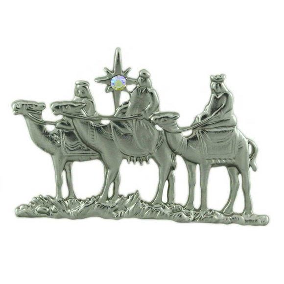 3 Wise Men / 3 Kings with Crystal North Star Christmas Brooch Pin - Lilylin Designs