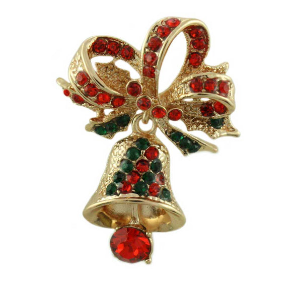 Red and Green Crystal Christmas Bell with Crystal Bow Brooch Pin - Lilylin Designs