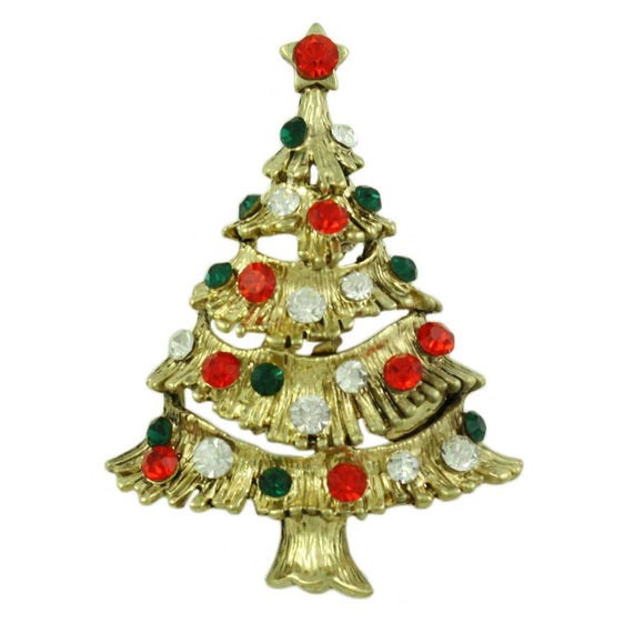 Antique Gold-tone Red and Green Crystal Christmas Tree Brooch Pin - Lilylin Designs