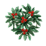 Dark Green Pine with Red Crystal Berries Christmas Brooch Pin - Lilylin Designs