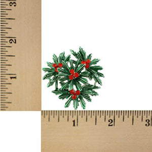 Dark Green Pine with Red Crystal Berries Christmas Brooch Pin (sized) - Lilylin Designs