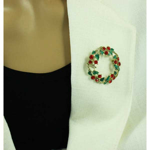 Model with Crystal Holly Christmas Wreath Pin Gift Set - Lilylin Designs