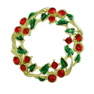 Crystal Holly Christmas Wreath Pin Gift Set - Lilylin Designs