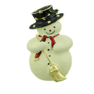 Snowman with Black Boater Hat and Broom Brooch Pin-Lilylin Designs