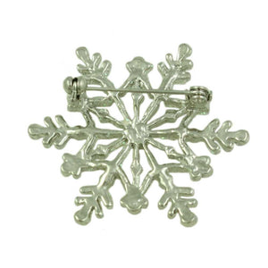 White Glitter Snowflake Pin (back) - Lilylin Designs