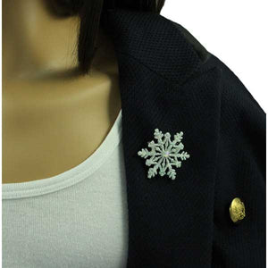 White Glitter Snowflake with Crystal Christmas Brooch Pin - XP631