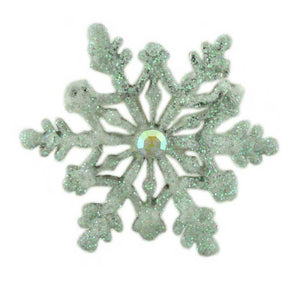 White Glitter Snowflake Pin - Lilylin Designs
