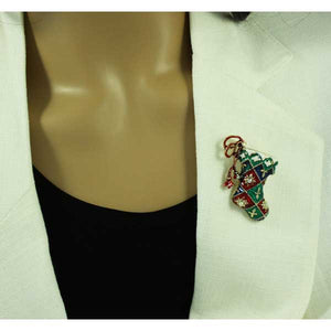 Model with Red, White and Green Enamel Harlequin Christmas Stocking Brooch Pin - Lilylin Designs