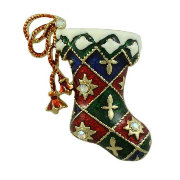Red, White and Green Enamel Harlequin Christmas Stocking Brooch Pin - Lilylin Designs