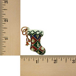 Red, White and Green Enamel Harlequin Christmas Stocking Brooch Pin (sized) - Lilylin Designs
