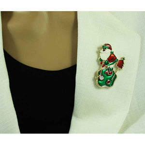 Model with Enamel Golfing Santa with Crystal Golf Ball Christmas Brooch Pin - Lilylin Designs