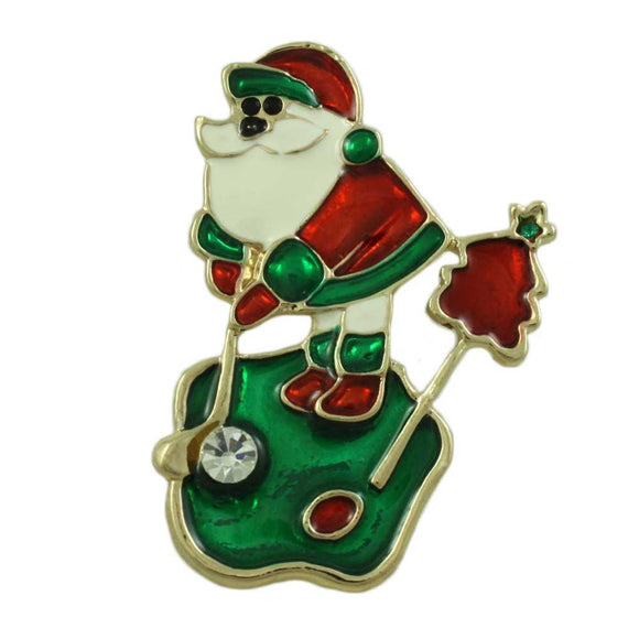 Enamel Golfing Santa with Crystal Golf Ball Christmas Brooch Pin - Lilylin Designs