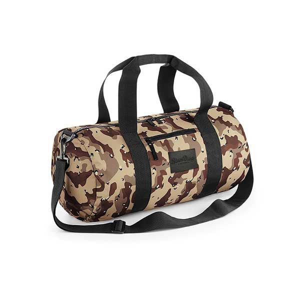 Desert Camo Leather Patch Barrel Bag