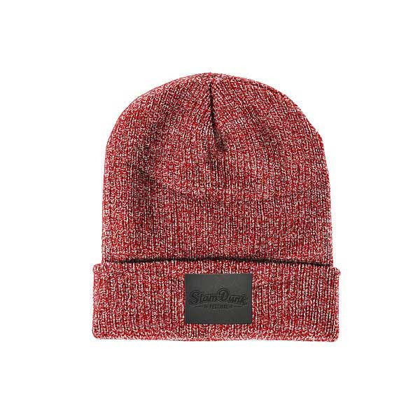 Red Leather Patch Beanie