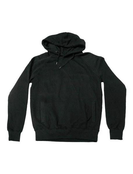 WHITE OUTLINED X PULL ON BLACK HOODIE