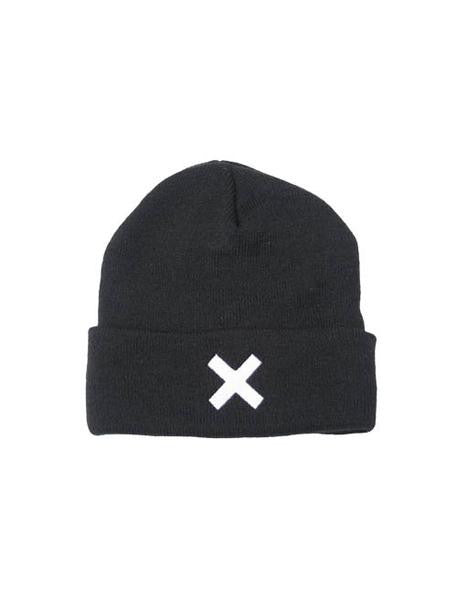 WHITE X EMBROIDERED BLACK BEANIE