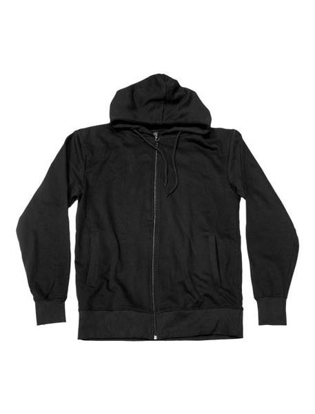 WHITE OUTLINED X ZIP UP BLACK HOODIE